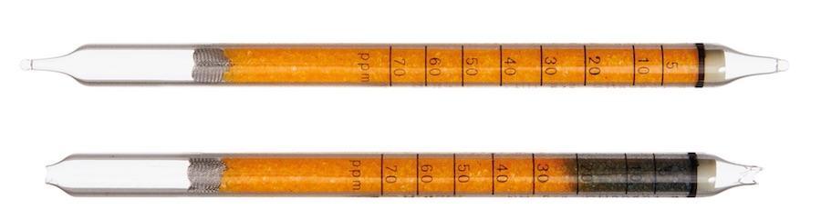 Индикаторная трубка Dräger до и после использования