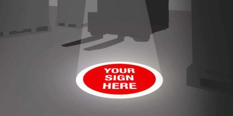 «Виртуальный» светящийся знак