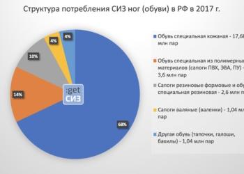 Структура потребления СИЗ ног (обуви) в РФ в 2017